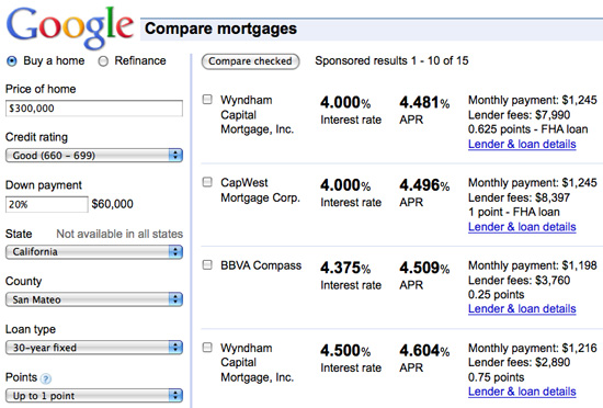 Google Mortgage Comparison