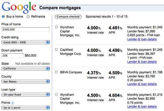 Google Mortgage Comparison