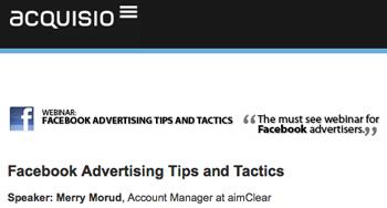 Acquisio Facebook Webinar