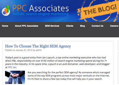 Check Out My Guest Post About SEM Agencies | PPC Ian