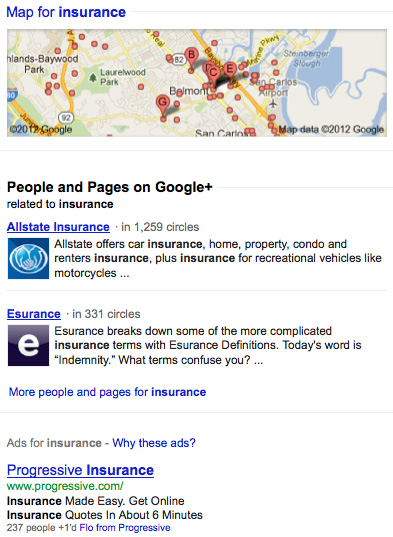 Insurance Google Results