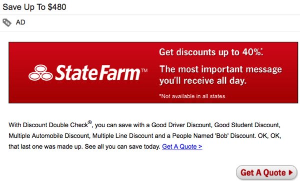 State Farm Gmail Message Ad