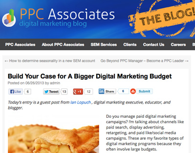 PPC Associates Digital Marketing Budget