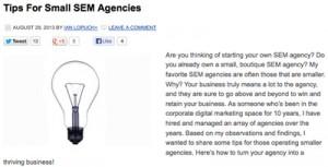 Small SEM Agencies