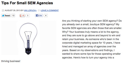 Small SEM Agencies